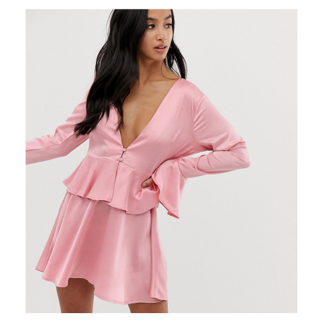 Missguided Petite plunge satin mini dress in pink
