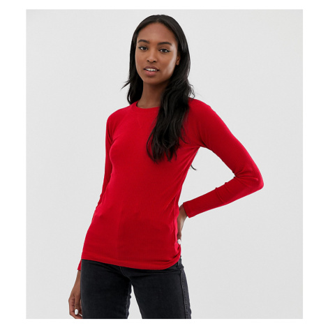 Brave Soul Tall selina long sleeve top in rib