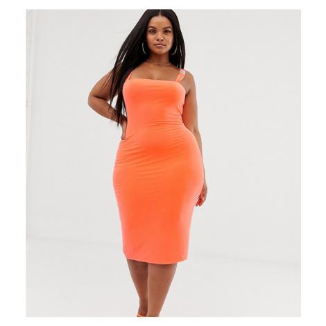 Fashionkilla Plus square neck midi dress with buckle strap detail in fluro orange