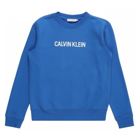 Calvin Klein Jeans Bluza 'LOGO BRUSHED CREW NECK' niebieski / biały