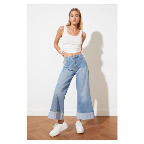 Trendyol Wysoka talia Culotte Jeans z niebieskim kołnierzem składane