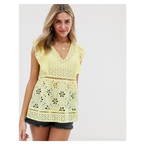 Miss Selfridge broderie blouse with frill sleeves in yellow