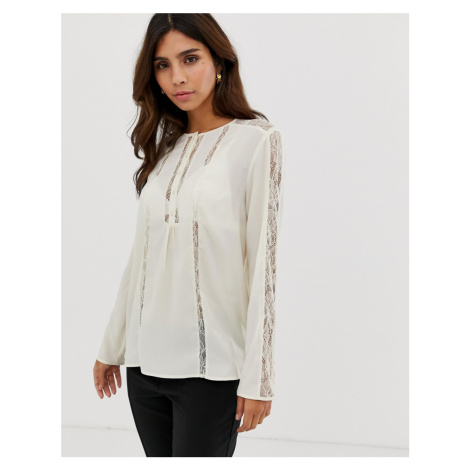 French Connection Polly Plains sheer panelled blouse