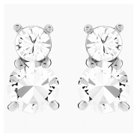 Solitaire Double Pierced Earrings, White, Rhodium plated Swarovski