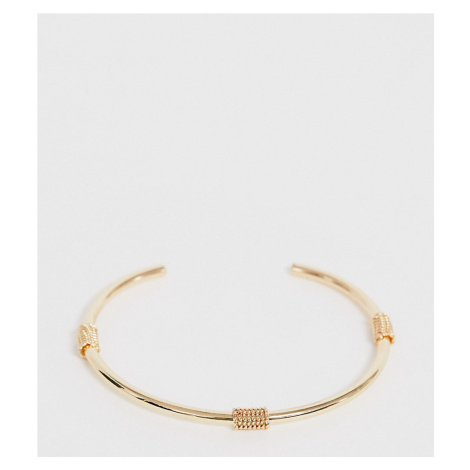 ASOS DESIGN Curve cuff bracelet with rope wrapped details in gold tone