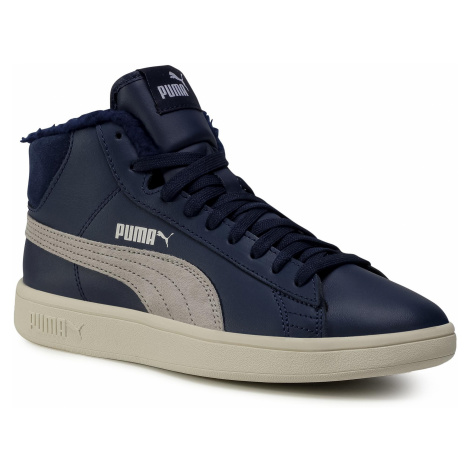 Sneakersy PUMA - Smash v2 Mid L Fur Jr 366896 06 Peacoat/Grey Violet