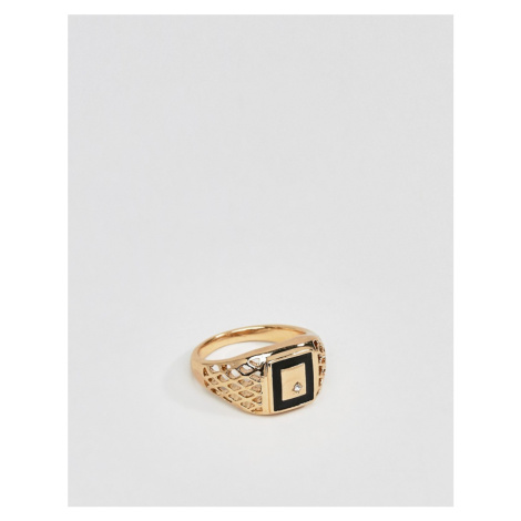 ASOS DESIGN vintage style signet ring with enamel and crystals in gold tone