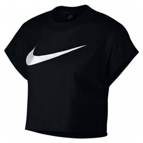 Nike NSW SWSH TOP CROP SS czarny XL - Koszulka damska