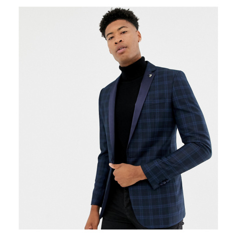 Farah Birsthwith party skinny blazer in check with satin lapel