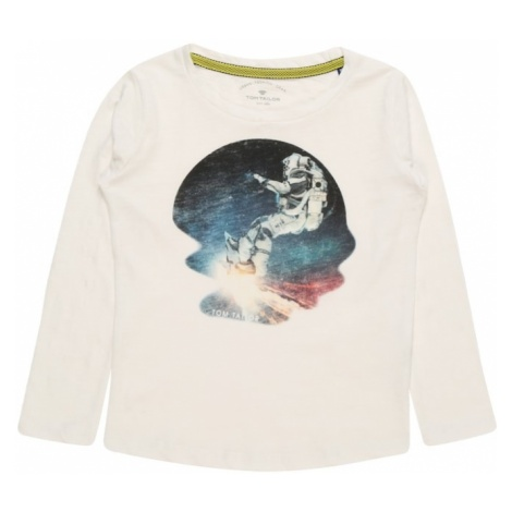 TOM TAILOR Koszulka 'T-shirt placed print' atramentowy / biały