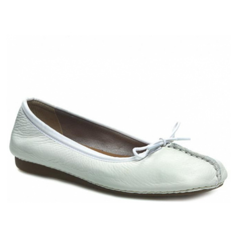 Baleriny CLARKS - Freckle Ice 203544554 White Leather