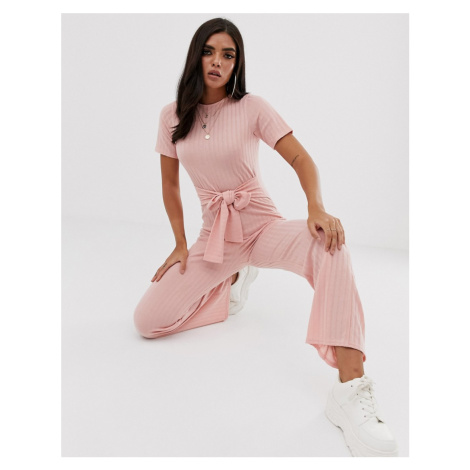 Boohoo ribbed jumpsuit with tie waist in pink