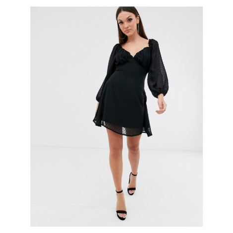 Missguided dobby milk maid mini dress with balloon sleeve in black