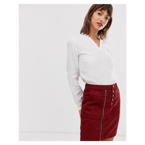 Esprit embroidered blouse with v neck in white