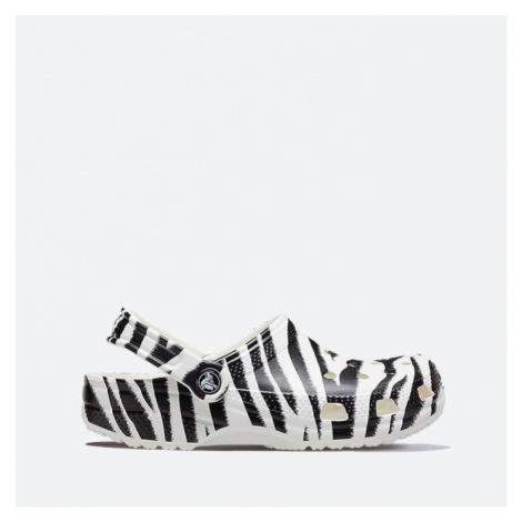 Klapki damskie Crocs Classic Animal Print Clog 206676 WHITE/ZEBRA PRINT