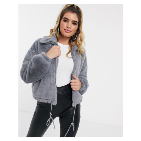 Missguided crop faux fur bomber jacket in grey
