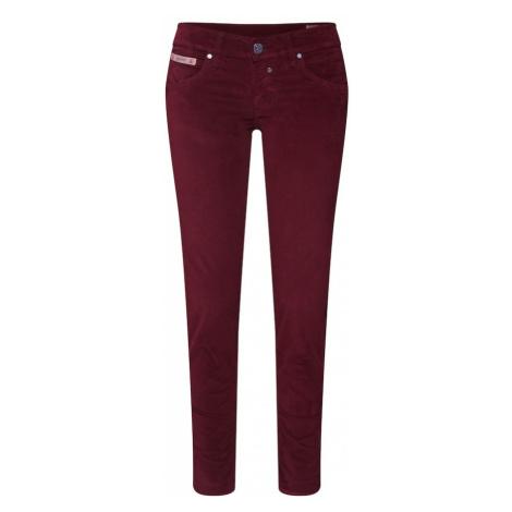 Herrlicher Spodnie 'Touch Cropped Velvet Stretch' czerwony