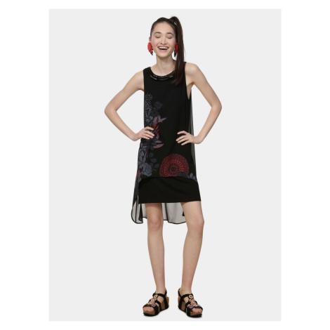 Czarna wzorzysta sukienka z koralikami Desigual Siena