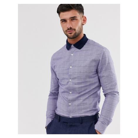 ASOS DESIGN skinny fit shirt blue pow check shirt with contrast rib collar