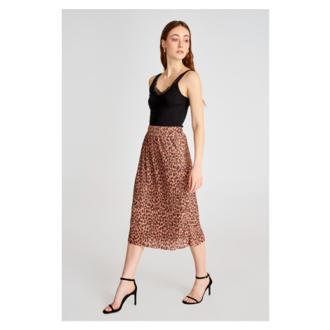 Trendyol Midi Knitted Skirt with Brown Leopard Print Pilise