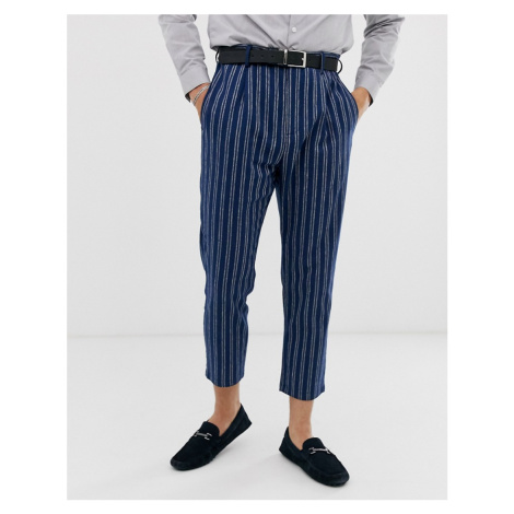 Gianni Feraud slim fit linen blend stripe pleated cropped suit trousers Féraud