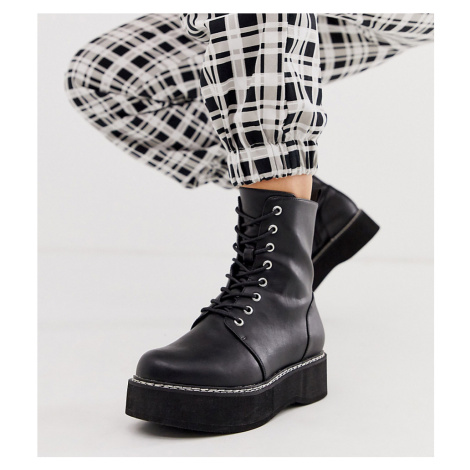 ASOS DESIGN Wide Fit Alva chunky lace up boots in black