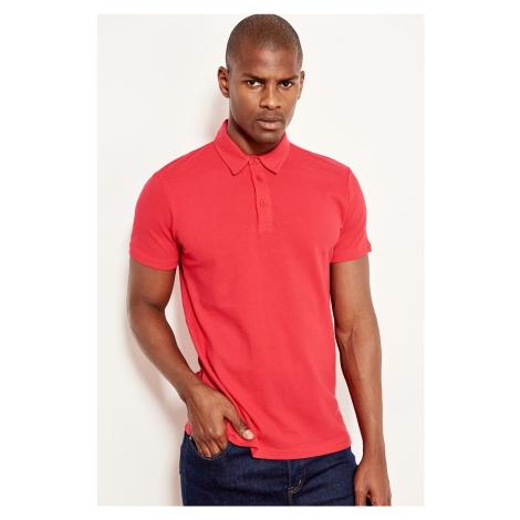 Trendyol Red mens cotton t-shirt-short sleeve Polo collar t-shirt