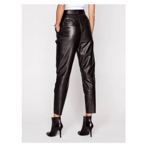 LaMarque Spodnie skórzane 6320 Czarny Regular Fit