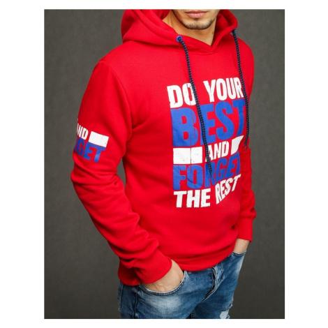 Bluza męska z kapturem czerwona BX4396 DStreet