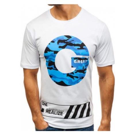T-shirt męski z nadrukiem biały Denley 6299 RIPRO