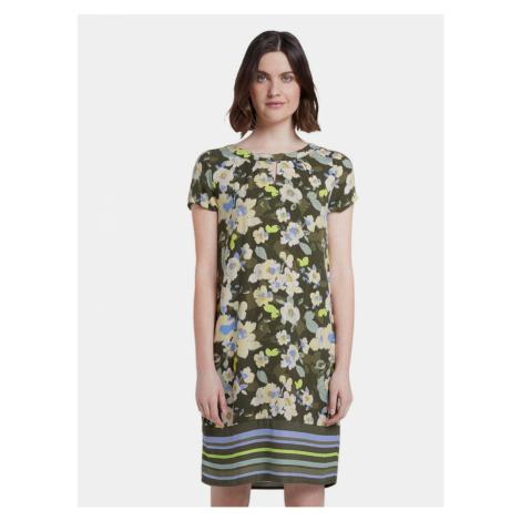 Ciemnozielona damska sukienka w kwiaty Tom Tailor