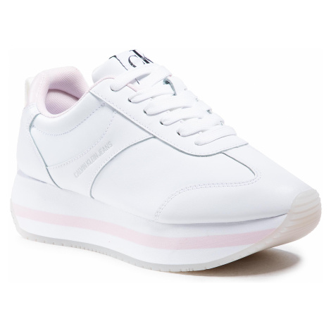 Sneakersy CALVIN KLEIN JEANS - Runner Flatform Laceup YW0YW00078 Bright White YAF
