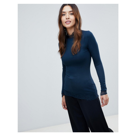 Y.A.S Lace Detail High Neck Top
