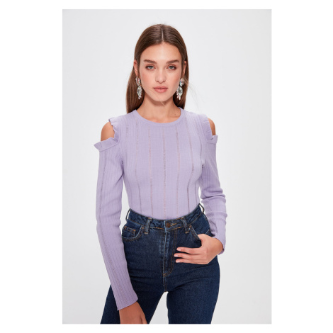 Trendyol Lila Cut Out Detailed Knitwear Sweater