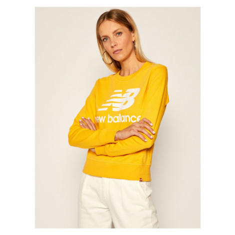 New Balance Bluza Essentials Crew NBWT03551 Żółty Relaxed Fit