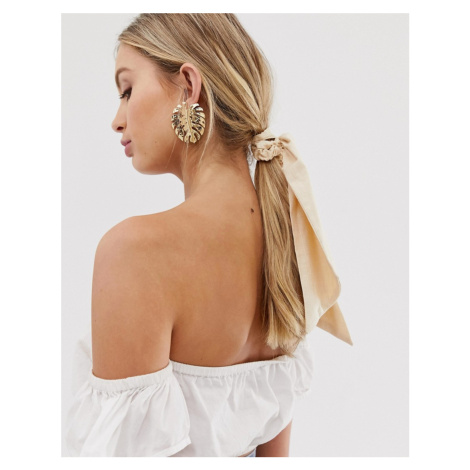 ASOS DESIGN cotton hair scarf in cream