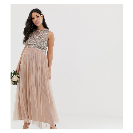 Maya Maternity Bridesmaid sleeveless midaxi tulle dress with tonal delicate sequin overlay in ta