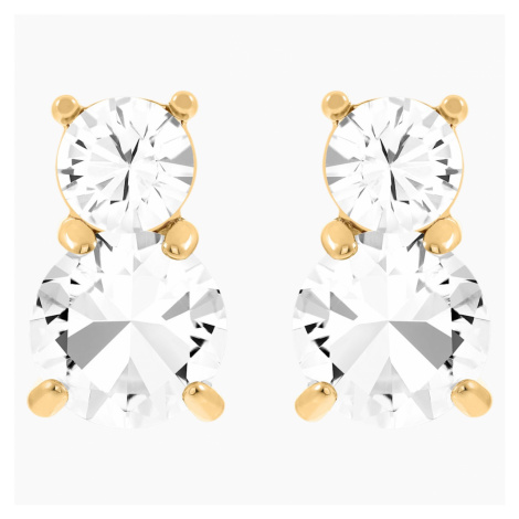 Solitaire Double Pierced Earrings, White, Gold-tone plated Swarovski