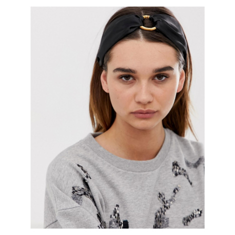ASOS DESIGN headband with bamboo ring detail in black