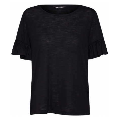 ONLY Koszulka 'onyISA S/S FRILL TOP JRS' czarny