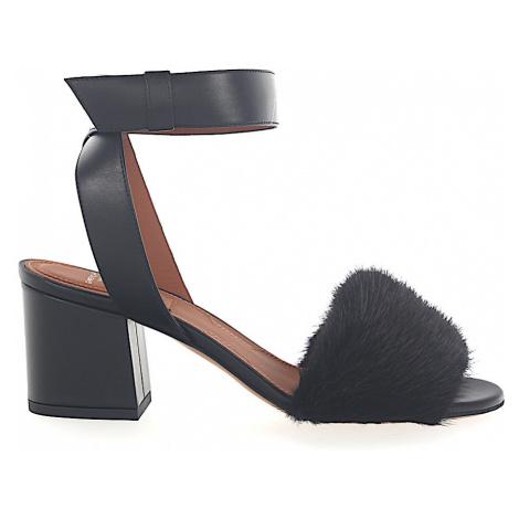 Givenchy - Buty Sandały Futrzana cholewka czarny