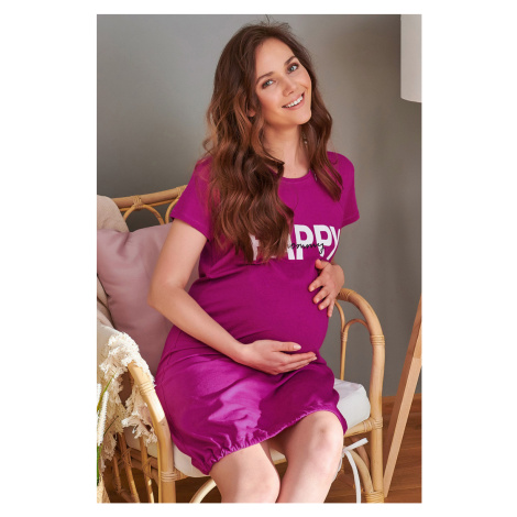 Koszulka ciążowa i do karmienia Happy Mommy różowa