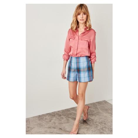 Trendyol Blue Plaid Shorts