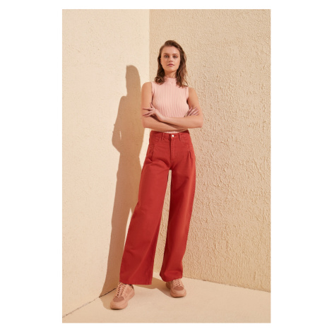 Trendyol High Waist Wide Leg Jeans WITH Tinted Pile