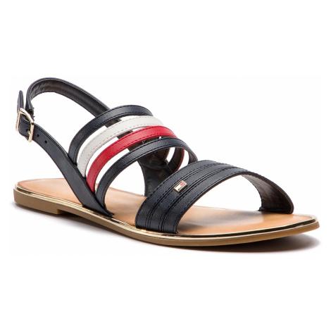 Sandały TOMMY HILFIGER - Strappy Flat Sandal FW0FW03667 Rwb 020