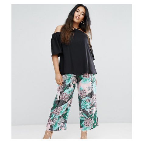 River Island Plus Floral Print Wide Leg Cropped Trousers