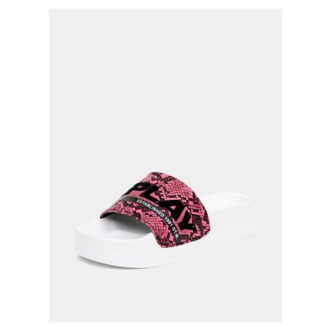 Różowe klapki damskie ze wzorem węża Replay
