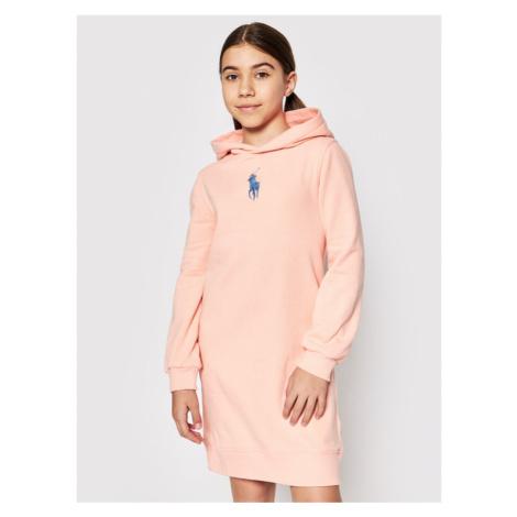 Polo Ralph Lauren Sukienka codzienna Hood Flc Drs 313837221003 Różowy Regular Fit
