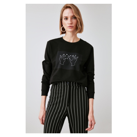 Trendyol Black Printed Knitted Sweatshirt