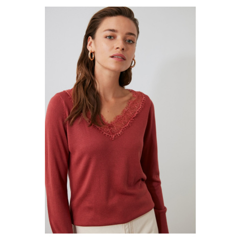 Trendyol Burgundy Lace Detailed V Collar Knitsweater